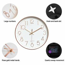 12 Large Modern Digital Indoor Outdoor 3D Wall Clock Silent Sweep Battery Decor