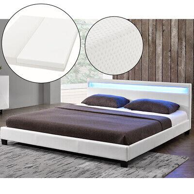 Polsterbett Kunstleder Doppelbett LED Bettgestell Matratze 140x200cm ArtLife®