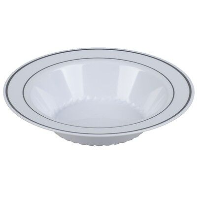 12 oz. Bowl White Premium Heavy Weight Plastic with silver trim(1 case) 12 Oz White Plastic Bowl