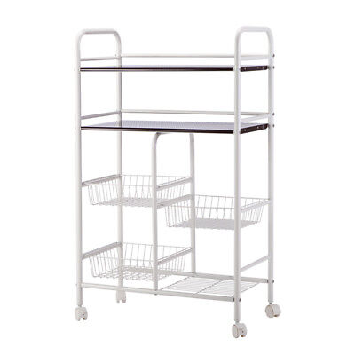 Rolling Kitchen Trolley Cart Island Wire Rack Basket Shelf Stand Storage US