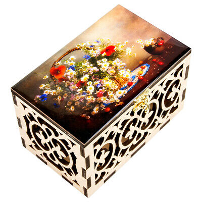 Wooden Lacquer Box Trinket Storage Box Still Life Flowers. Hand Carved Keepsake