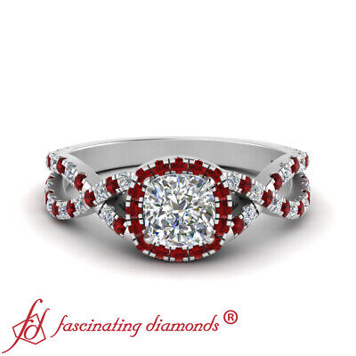 Twisted Halo Engagement Ring With 1 Carat Cushion Cut Diamond And Ruby Gemstone 1