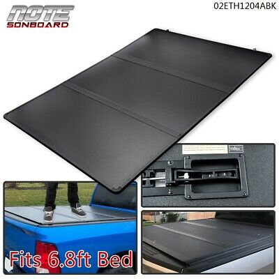 Hard Tri-Fold Tonneau Cover for 99-16 F-250/F-350 Super Duty 6.8ft Bed Black