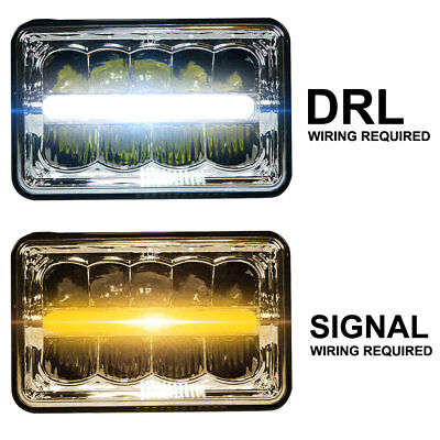 (4x6 50W LED Headlight DRL White/Amber H4651 H4652 H4656 H4666 H6545 Replacement)