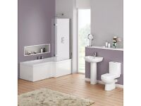 Full Bathroom Square Effect Showerbath Complete Suite. Modern Taps, Basin and Toilet.