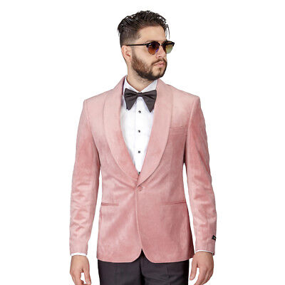 Tuxedo Jacket Men Slim Fit Pastel Dinner Velvet Blazer Shawl Lapel 1 Button AZAR