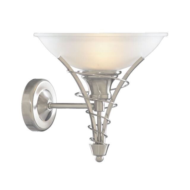 SEARCHLIGHT LINEA MODERN SILVER ACID GLASS INDOOR WALL FITTING BRACKET LIGHT NEW