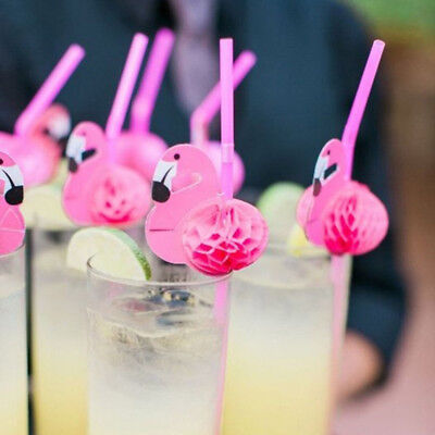 10/20/50Pcs Pink Flamingo Cocktail Drinking Straw Party Supplies Cup Decoration ()