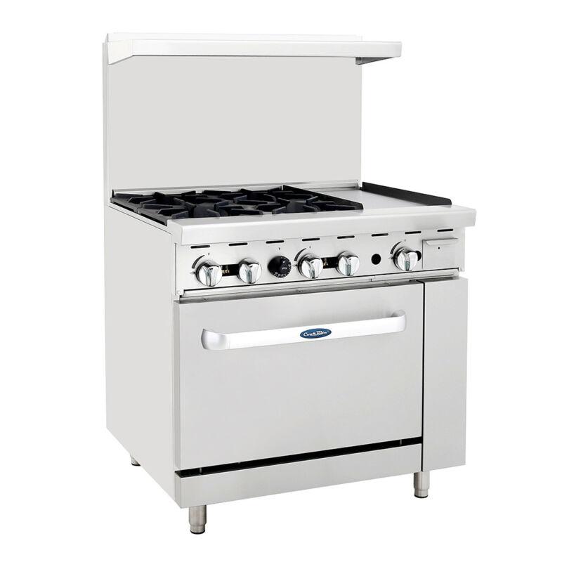 "Atosa Ato-4b12g Cookrite 36"" (4) Burner Gas Range W/ Oven"