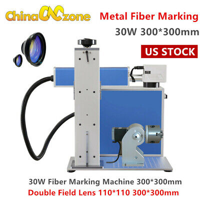 30w Fiber Laser Metal Marking Machine Engraver Two Field Lens Wrotary Axis Us