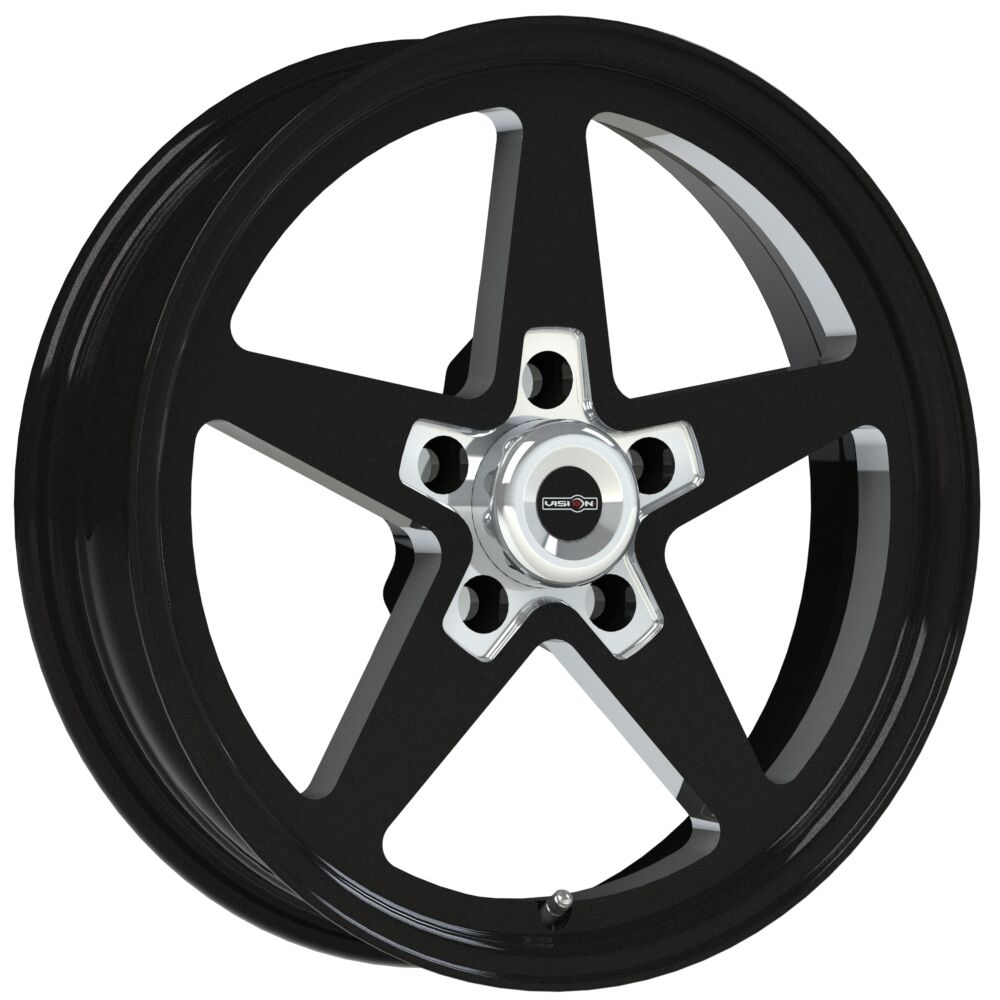 15X4 VISION SPORT STAR II BLACK ALUMASTAR PRO DRAG RACE WHEEL 5X4.5 NO WELD