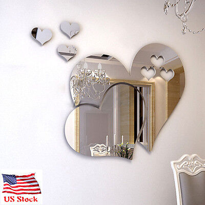 US 3D Love Hearts DIY Mirror Wall Sticker Home Room Removable Decal Decor Mural