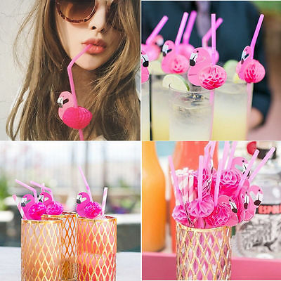 10pcs Rose Plastic Flamingo Cocktails Drinking Straw Hawaii Beach Party Cute - Cute Straws