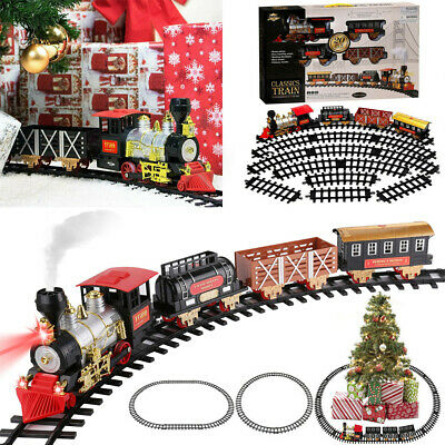 20Pcs Large Christmas Train Round Track Toy Set With Light Sound Smoke Kids Gift
