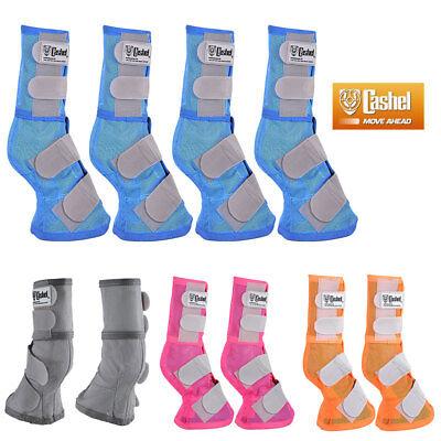 Horse Leg Boots - U-G3-4 4 PACK CASHEL FLY PREVENTION HORSE LEG GUARD MESH BOOTS BLUE PINK ORANGE