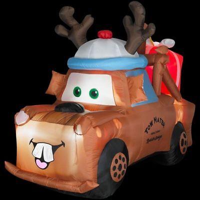 CHRISTMAS SANTA DISNEY CARS MATER TOW TRUCK  INFLATABLE AIRBLOWN YARD - Inflatable Santa