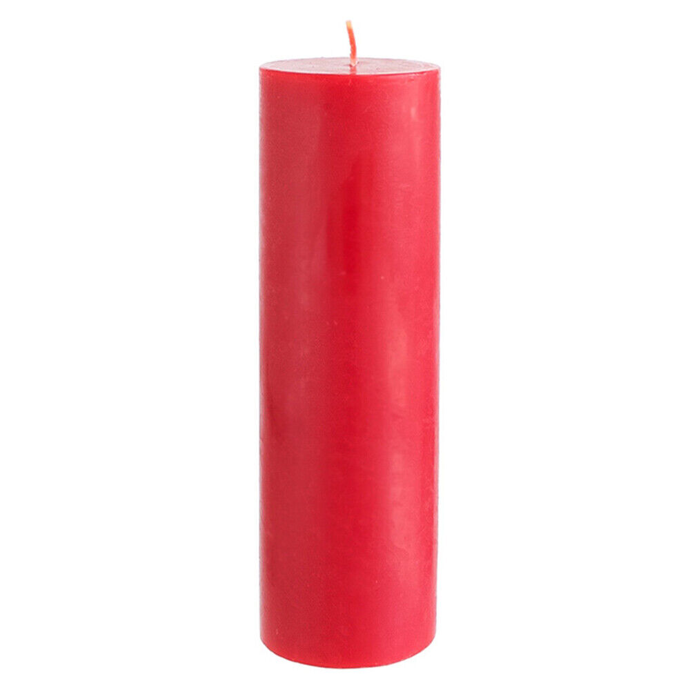 Mega Candles Unscented Red Round Pillar Candle | Hand Poured