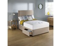 Small double Divan bed with storage + memory foam mattress