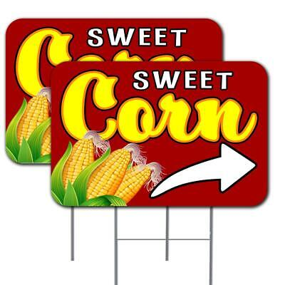 Sweet Corn Arrow 2 Pack Double-sided Yard Signs 16 X 24 With Metal Stakes Ma