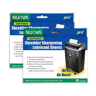 2 PACKS Nuova Shredder Sharpening & Lubricant Sheets (24 counts)