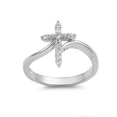 (.925 Sterling Silver Classic Clear CZ Religious Cross Fashion Ring Size 4-10)