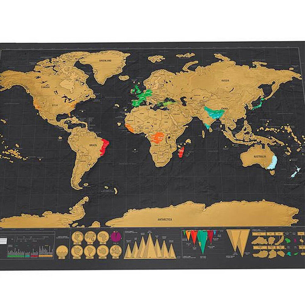 Travel World Map Scratch Off Deluxe Poster Copper Foil Wall Sticker, Large