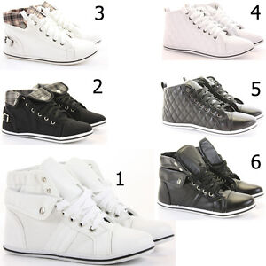 Womens-Trainer-Flat-Lace-up-Ankle-High-Top-Style-Boots-Shoes-Size