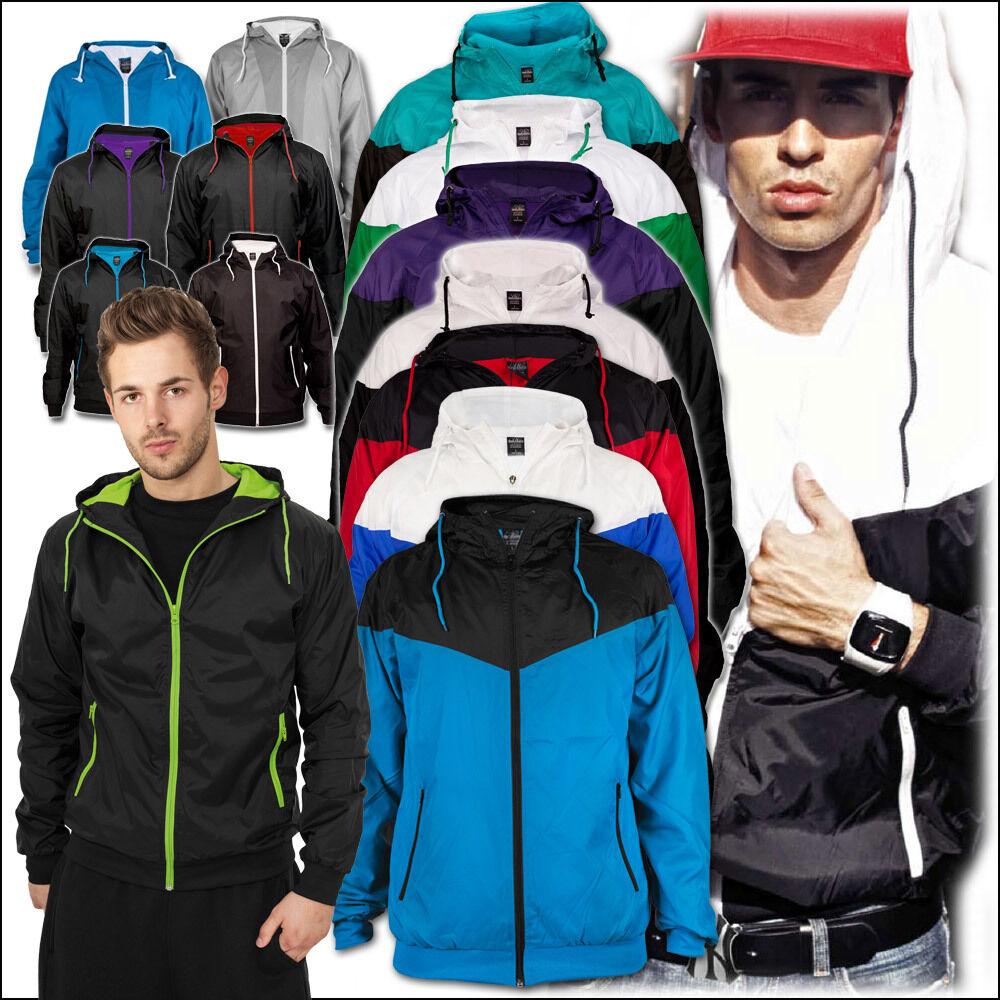 URBAN CLASSICS Basic Pull Over Jacket Uomo con Cappuccio Giacca windrunner zip hoodie