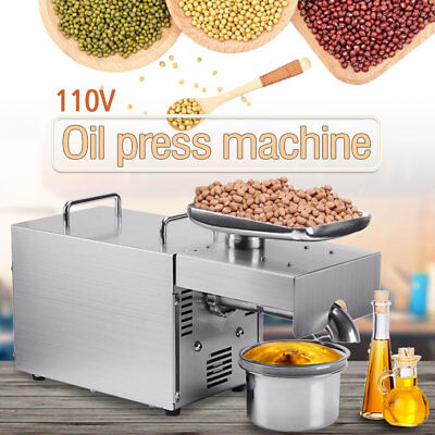 US New Automatic Small Oil Press Machine Stainless Steel Cold Hot Press 110V