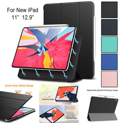 For iPad Pro 12.9 11 inch 2018 Smart Case Leather Pencil Charging Magnetic Cover