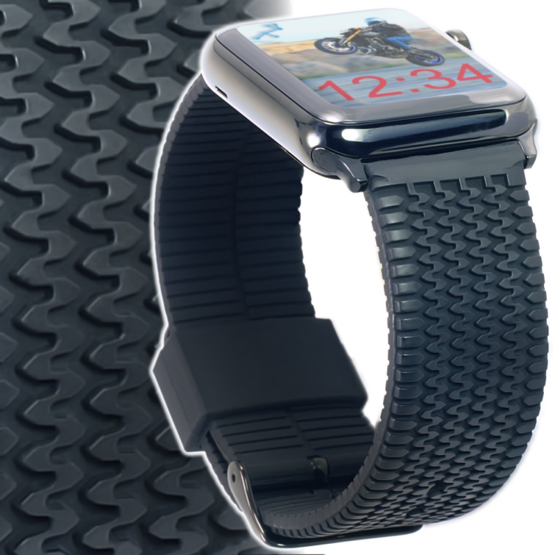 SS Silicone Tire Tread iWatch Band