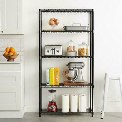 5 Tier Wire Shelving 5 Shelves Unit Metal Storage Rack Durable Organizer