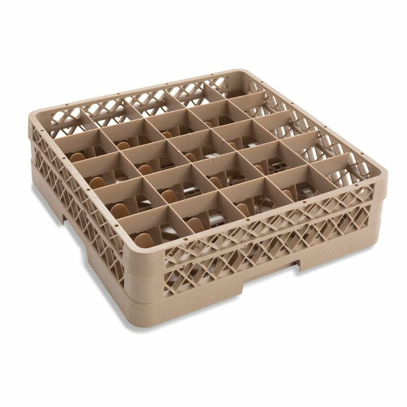 Traex TR6B Beige 25 Compartment Glass Rack with 1 Extender