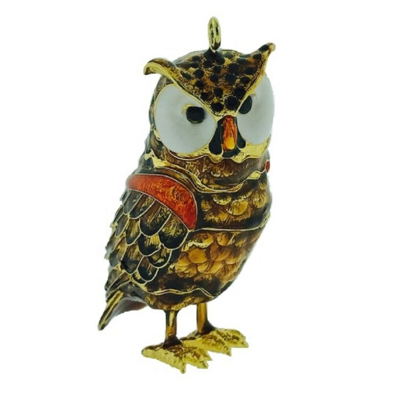 Brown Owl Articulated Cloisonne Metal Christmas Tree Ornament Bird Decoration