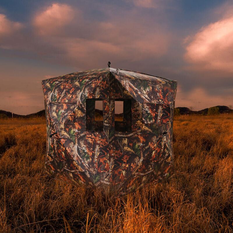 Waterproof Hunting Pop-up Tent 2-3 Person Window Ground Blind Camo w/Case Sports