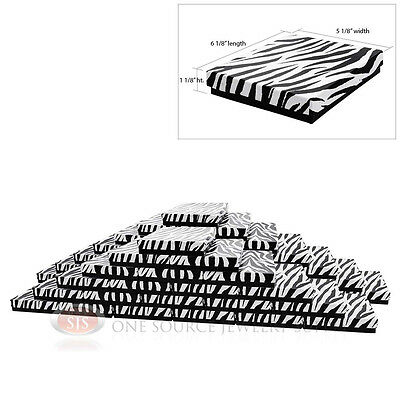 Large 50 Zebra Print Cotton Filled Jewelry Gift Boxes 6 18 X 5 18 X 1 18h