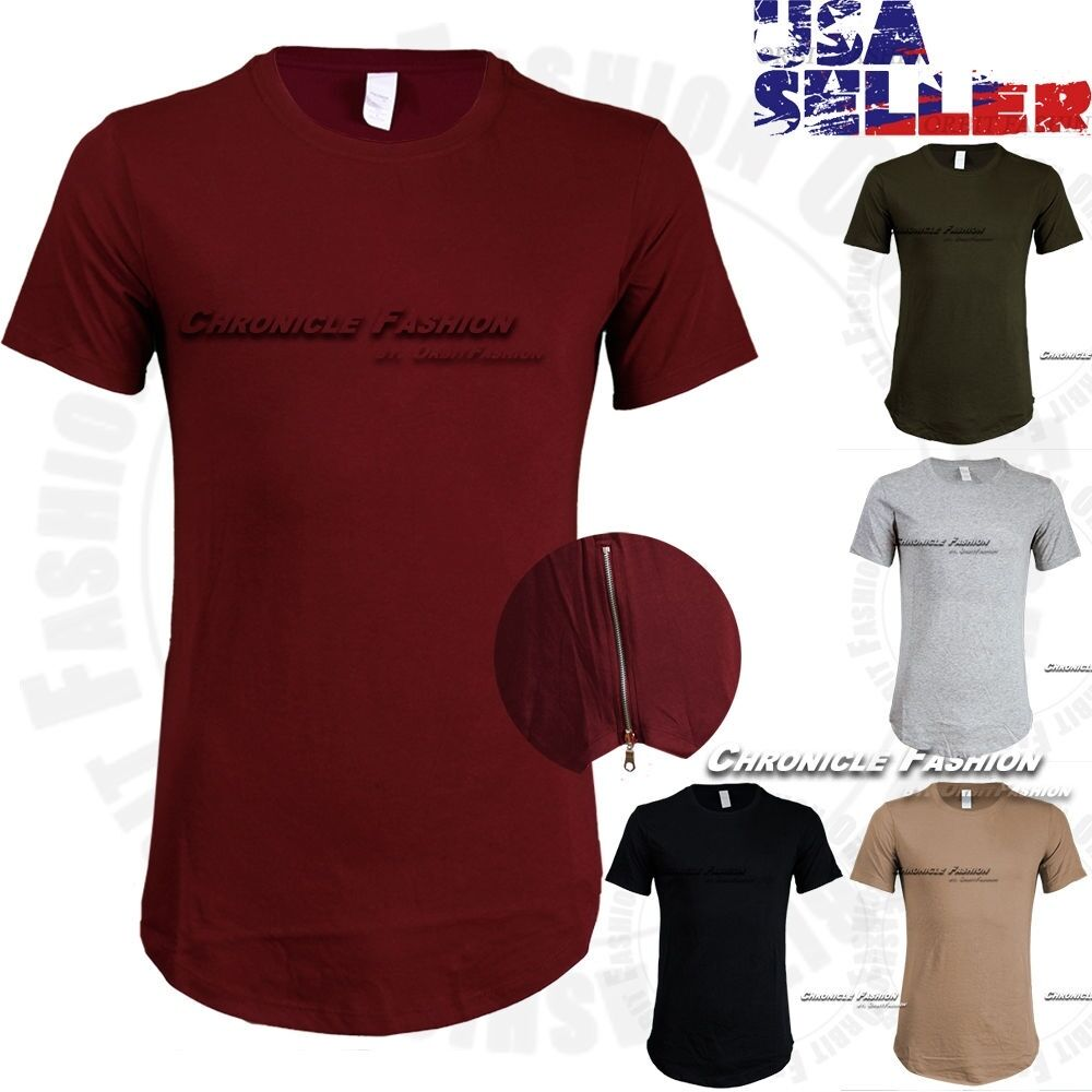 $8.50 - Mens T Shirts Long Extended Crew Neck HipHop Fashion Elongated Tee Casual Zipper