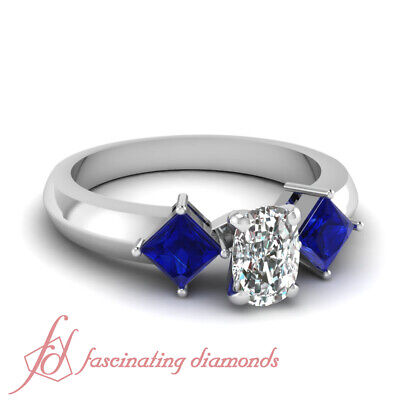 .70 Ct Cushion Cut Diamond & Princess Blue Sapphire Trinity Engagement Ring GIA
