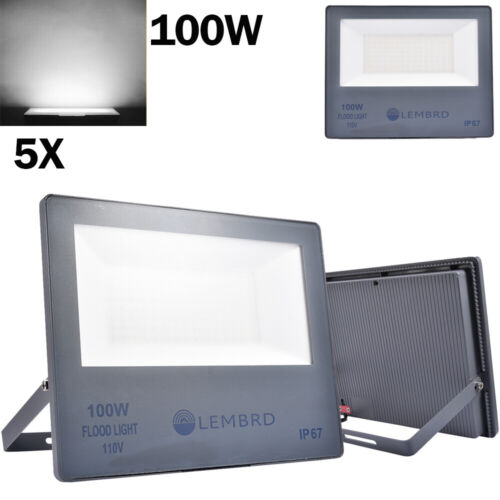 5x 100W LED Flood Light Cool White Outdoor Security Floodlig