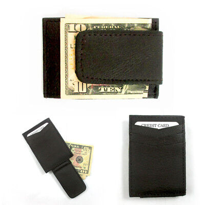 Mens Deluxe Brown Leather Magnetic Money Clip Wallet Credit Card Slim ID Holder