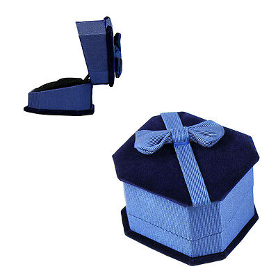 Deluxe Royal Blue Velvet - Satin Bow Ring Jewelry Presentation Display Gift Box