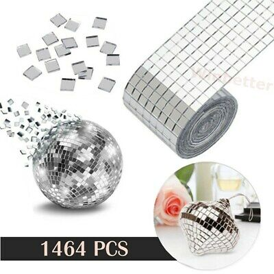 1464 Square Mirror Glass Pieces Mosaic Tiles Tessara DIY Art Craft Self Adhesive