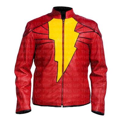 Shazam Stylish Superhero Costume Cosplay Faux Leather Jacket Best Halloween