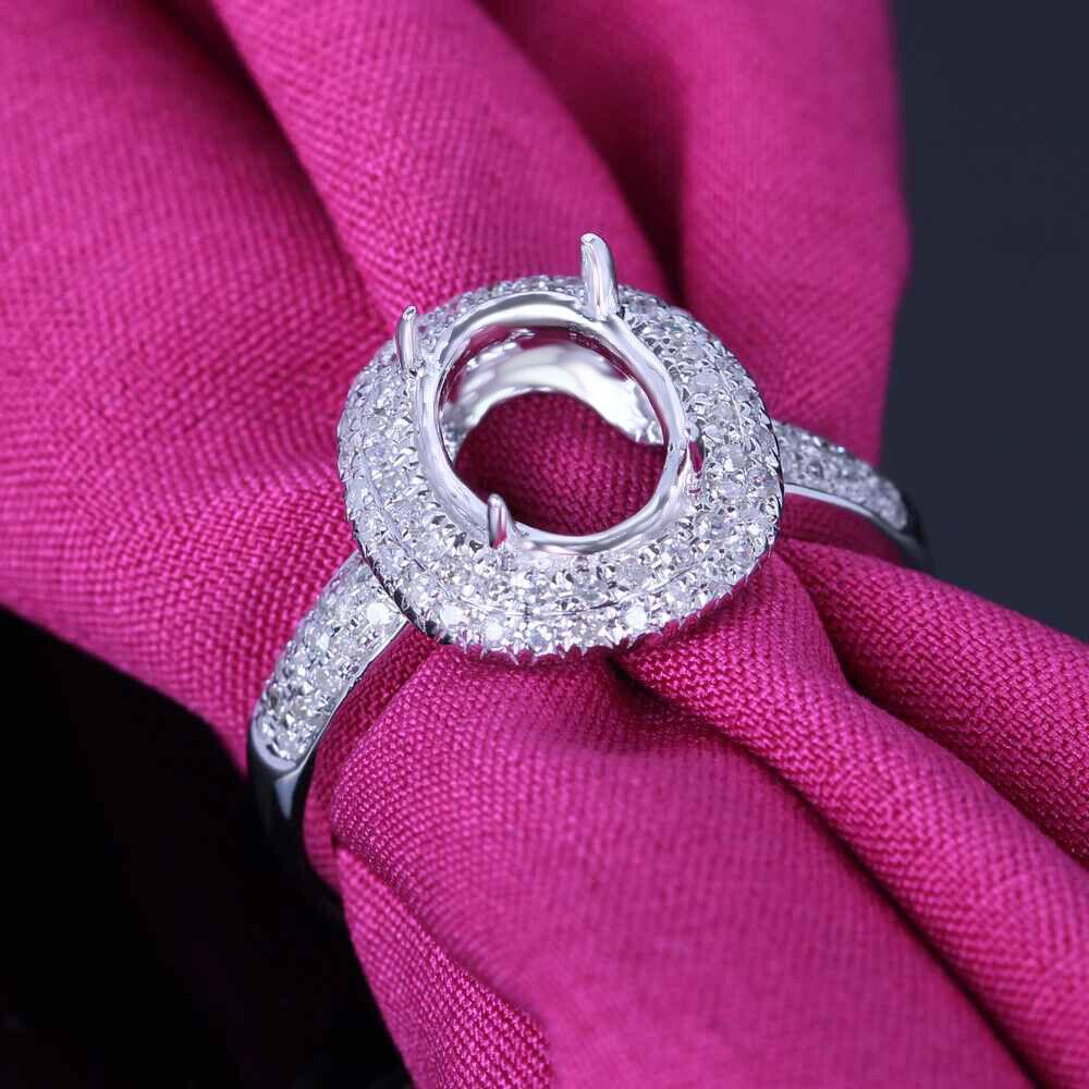 Stylish Women 9x7mm Oval Genuine Diamonds Semi Mount Wedding Ring ...