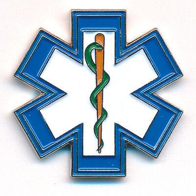 EMT Star of Life Rettungsdienst Äskulapstab 3D Metall Button Pin Anstecker 0500