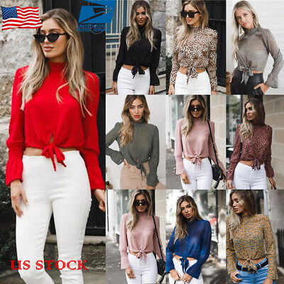 (US Women Chiffon Turtle Neck Tops Blouse Long Flare Sleeve Lace Up T-Shirt Tees)
