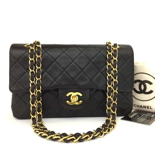 CHANEL Double Flap 23 Quilted CC Logo Lambskin w/Chain Shoulder Bag Black/367