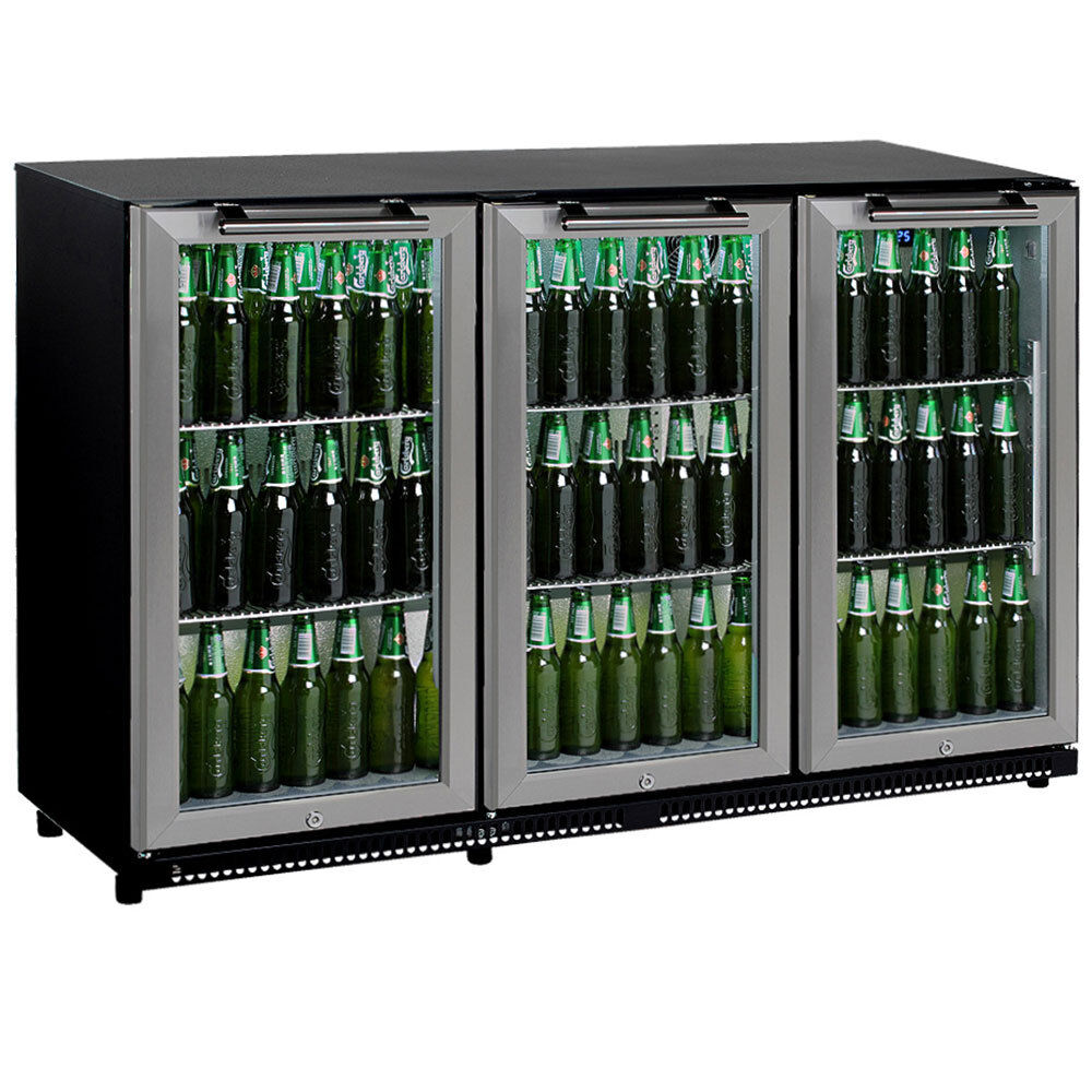 330 Litre 3 Door Stainless Steel Glass Door Display Bar Drink Under