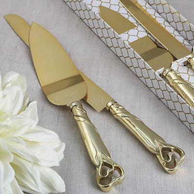 ENGRAVED Gold Double Heart Wedding Cake Server Serving Set Knife Reception - Gold Cake Knife