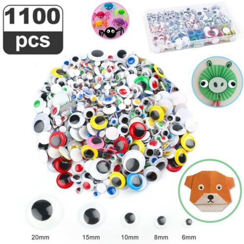 1100PCS 6mm 8mm 10mm 15mm 20mm Colorful Wiggle Googly Eyes with Self-Adhesive